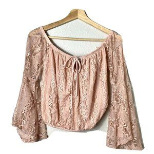 Charlotte Russe Pink Blush Sleeve Lace Crop Top M
